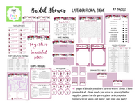 EVENT KIT Bridal Shower Kit (Games, Invites, Meal Plan, Labels and more) - Lavender Floral Theme (47 pages) INSTANT DOWNLOAD Printable