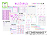 KIT: Birthday Party Kit (Including Games, Recipes, Meal Plans, Treat Labels and more) - Rainbow Unicorn Theme (33 pages) INSTANT DOWNLOAD Printable