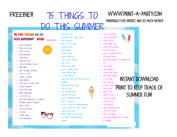75 Summer Activities Checklist Printable - FREE INSTANT DOWNLOAD