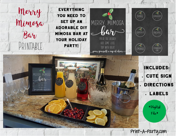 MERRY MIMOSA BAR SETUP DIY | Christmas | Holiday | Cocktail Party | Mimosa Bar Kit | INSTANT DOWNLOAD