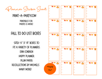 PLANNER STICKERS: Fall To Do Boxes INSTANT DOWNLOAD | Fits a variety of planners! Erin Condren, Happy Planner and more