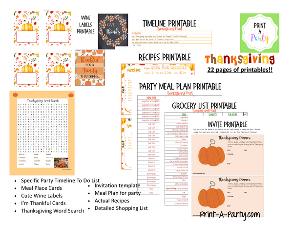 HOLIDAY PARTY PLANNING: Thanksgiving Plan | Thanksgiving Party Plan - INSTANT DOWNLOAD - 23 pages!