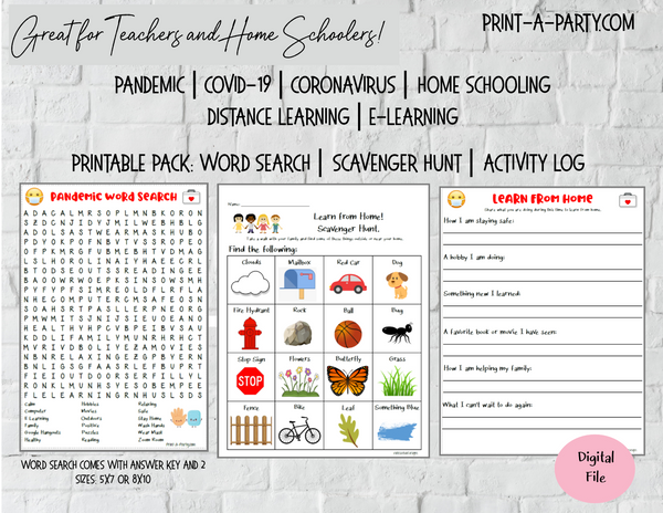 Home School | Distance E-Learning | Pandemic | Coronavirus | COVID-19 Activites Pack