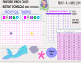 BINGO: Mermaid - INSTANT DOWNLOAD - birthdays, celebrations, classroom