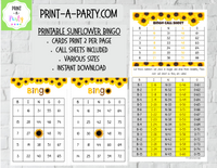 BINGO: Sunflowers - INSTANT DOWNLOAD - great for Tween/Teen parties, birthdays, celebrations, classroom