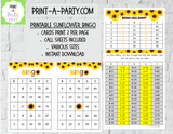 BINGO: Sunflowers | Classrooms | Parties | Birthday | 30, 40, or 50 cards - INSTANT DOWNLOAD