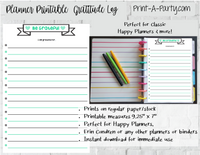 Happy Planner Gratitude Log Page | Planner List | Classic Happy Planner Page Inserts