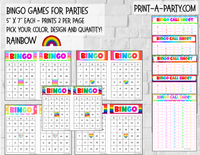 BINGO: Rainbow | Rainbow Party | Classrooms | Parties | Birthday | 30, 40, or 50 cards - INSTANT DOWNLOAD