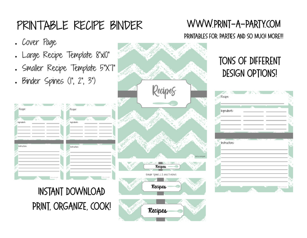 RECIPE BINDER | Printable Kit for DIY Recipe Binder | Home Organization | Recipe Organization | INSTANT DOWNLOAD - Cover | Spines | Recipe Layouts