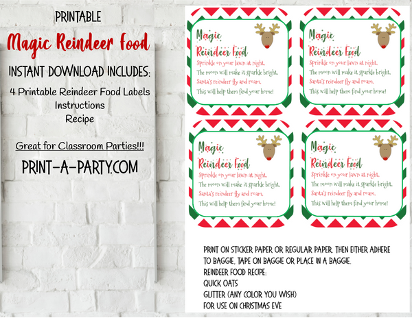 MAGIC REINDEER FOOD KIT | Christmas | Holiday | Labels | Recipe | INSTANT DOWNLOAD