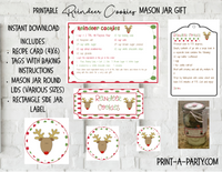 MASON JAR GIFT SET: Reindeer Cookies - INSTANT DOWNLOAD - includes recipe, labels and instructions
