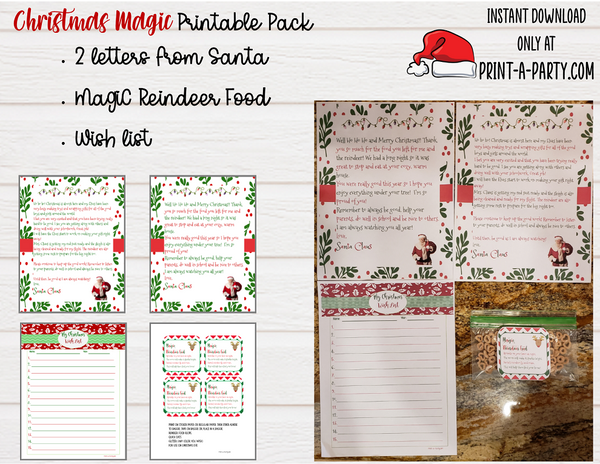 CHRISTMAS MAGIC PACK | Santa Letters (2) | Reindeer Food | Wish List | - INSTANT DOWNLOAD
