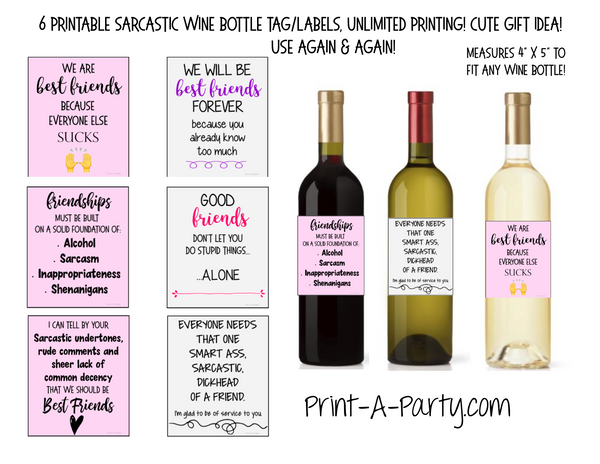 WINE LABELS: Friends | Girlfriends | Girl's Night Out | Bachelorette Party | Sarcastic Funny (6) - INSTANT DOWNLOAD - Use again and again!