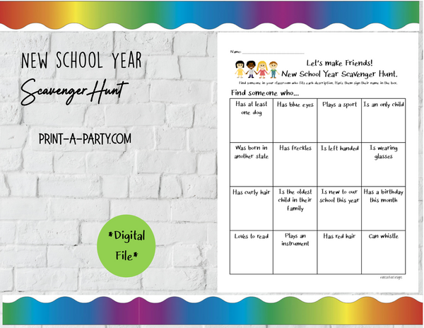 BACK TO SCHOOL: Classroom | New School Year Scavenger Hunt | Distance E-Learning |
