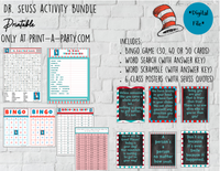 ACTIVITY BUNDLE: Dr. Seuss  | Classrooms | Parties | Activities | Bingo | Word Search | Word Scramble | Class Posters INSTANT DOWNLOAD