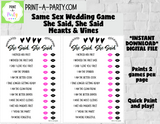 SHE SAID, SHE SAID: Same Sex Wedding Shower Game - INSTANT DOWNLOAD