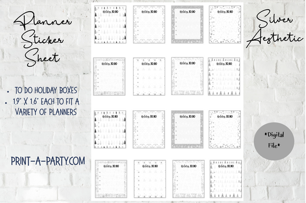 PLANNER STICKERS: Christmas | Holiday To Do Boxes | Silver Aesthetic | INSTANT DOWNLOAD Fits a variety of planners!