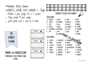 image about Printable Party Game referred to as Whats Your Spy Popularity with Printable Reputation Tags- Quick Obtain