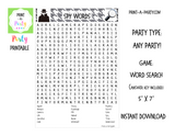 WORD SEARCH: Birthday Party Spy Party - INSTANT DOWNLOAD