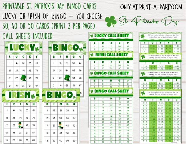 BINGO: St. Patrick's Day Bingo | Lucky Bingo | Irish Bingo | Leprechaun | Shamrock | Pot of Gold | Classrooms | Parties | Birthday | 30, 40, or 50 cards - INSTANT DOWNLOAD