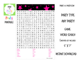WORD SEARCH: Stars | Birthday Party | Games - INSTANT DOWNLOAD