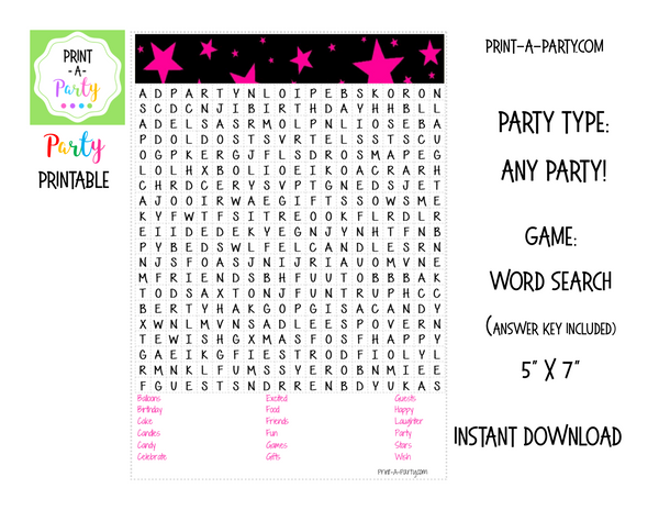 WORD SEARCH: Birthday Party Stars - INSTANT DOWNLOAD