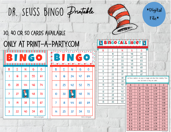 BINGO: Dr. Seuss | Classrooms | Parties | Birthday | 30, 40, or 50 cards - INSTANT DOWNLOAD