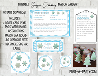 MASON JAR GIFT SET: Sugar Cookies Winter Theme - INSTANT DOWNLOAD - includes recipe, labels and instructions