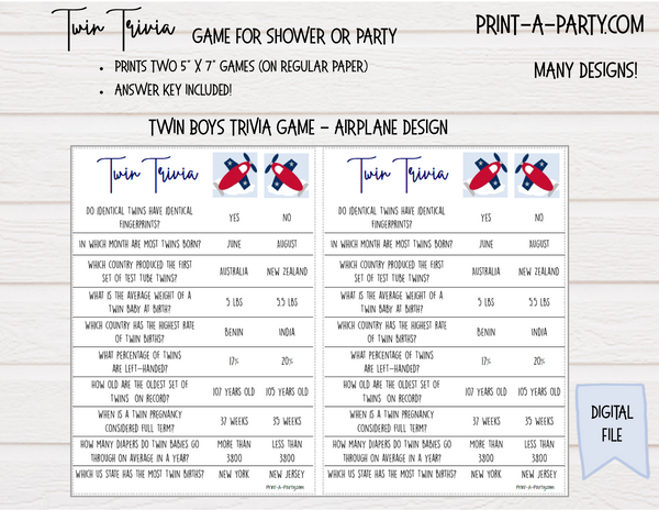 TWIN TRIVIA Game for Twin Boys - for Baby Shower or Party - INSTANT DOWNLOAD