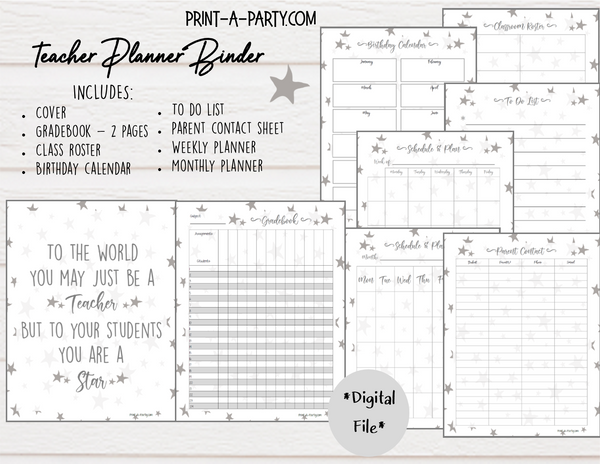PLANNER: Teacher Planner | Gradebook | Binder Pages | Gray Stars Design