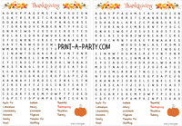 WORD SEARCH: Thanksgiving  - INSTANT DOWNLOAD - great for classrooms and parties or holidays!