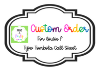 CUSTOM ORDER REQUEST: Tombola Call Sheet