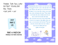 Tooth Fairy Letter (Blue) - INSTANT DOWNLOAD PRINTABLE