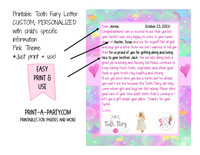 Tooth Fairy Letter (Pink) - CUSTOM PERSONALIZATION WITH YOUR CHILD'S INFO