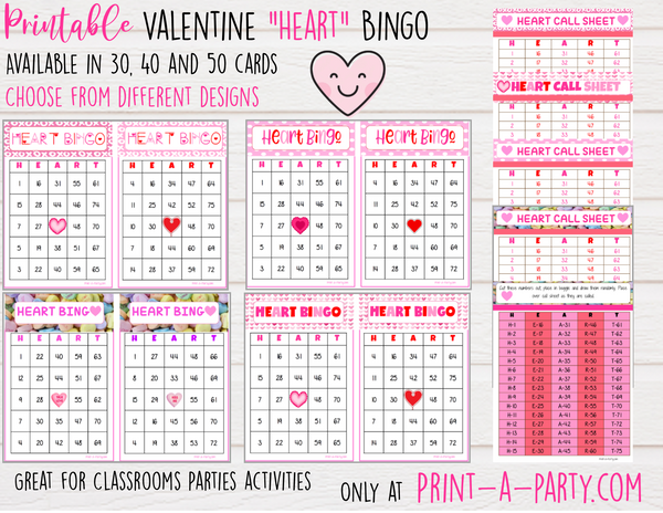 BINGO: Valentine Bingo Game Heart Bingo - Choose your size and Design! INSTANT DOWNLOAD