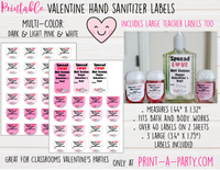 HAND SANITIZER LABELS | Printable Valentine's Day Hand Sanitizers | Spread Love Not Germs - INSTANT DOWNLOAD