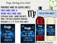 WINE LABELS: Astrology Signs | Drunk Astrology Signs | Aries Taurus Gemini Cancer Leo Virgo Libra Scorpio Sagittarius Capricorn Aquarius Pisces | INSTANT DOWNLOAD