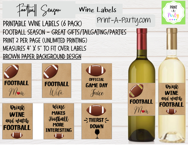 WINE LABELS: Football Wine (6) - INSTANT DOWNLOAD - Pick your design