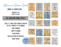PLANNER STICKERS: Zac Brown Band Lyrics | Boxes | INSTANT DOWNLOAD Fits a variety of planners!