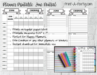 HAPPY PLANNER Zone Cleaning Checklist Page | Planner Weekly Checklist | Classic Happy Planner Page Inserts