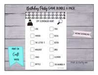 GAME BUNDLE: Birthday Party Game 6 Pack - INSTANT DOWNLOAD - Spy Detective