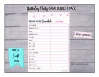 GAME BUNDLE: Birthday Party Game 6 Pack - INSTANT DOWNLOAD - Pink Hearts - Great for Teens/Tweens!