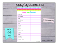 GAME BUNDLE: Birthday Party Game 6 Pack - INSTANT DOWNLOAD - Rainbow Chevron - great for Tween/Teen parties