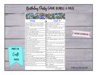 GAME BUNDLE: Birthday Party Game 6 Pack - INSTANT DOWNLOAD - Silver Glitter - great for Tween/Teen parties