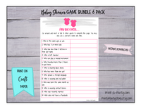 GAME BUNDLE 6 Pack for Twin Girls Baby Shower - INSTANT DOWNLOAD