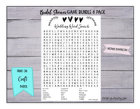 GAME BUNDLE Bridal Shower Game Bundle 6 Pack INSTANT DOWNLOAD - Classic Black and White Vine and Hearts