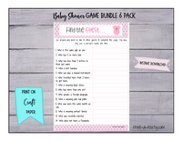 GAME BUNDLE 6 Pack for Baby Shower - INSTANT DOWNLOAD - Pink & Gray Theme