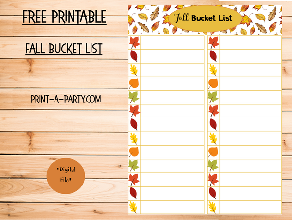 Fall Bucket List - FREE INSTANT DOWNLOAD