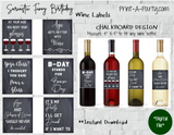 WINE LABELS: Birthday | Girlfriends | Friends | Sarcastic Funny Birthday Wine (6) - INSTANT DOWNLOAD - Pick your design