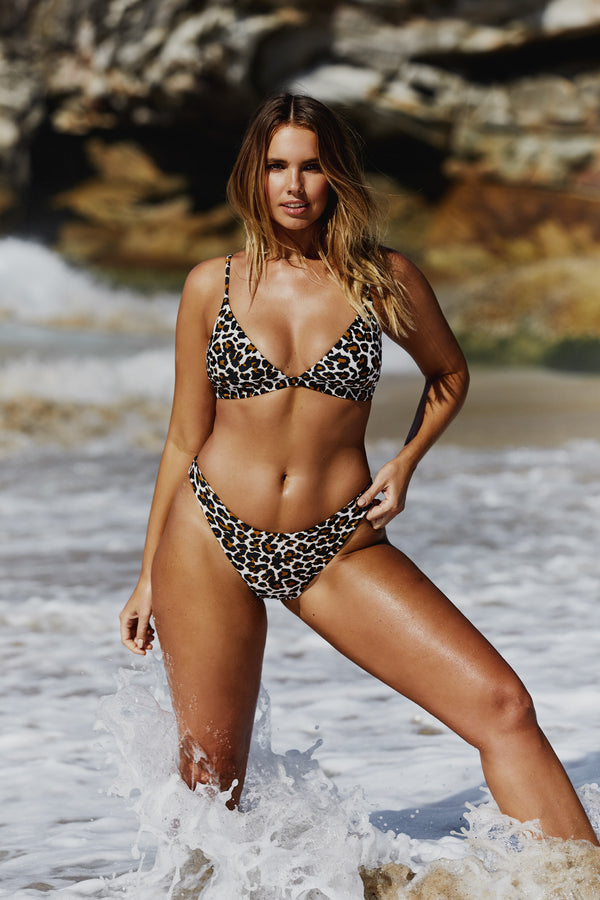 Curve model Bree McCann in Leopard Print Code B Bikini shot by photographer Josie Clough